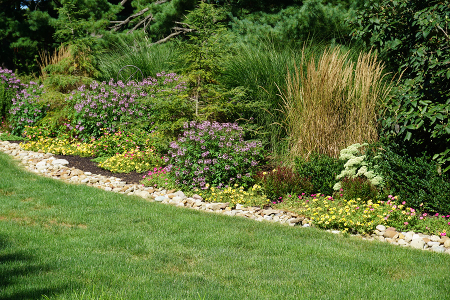 annual and perennial planting with aggregate border