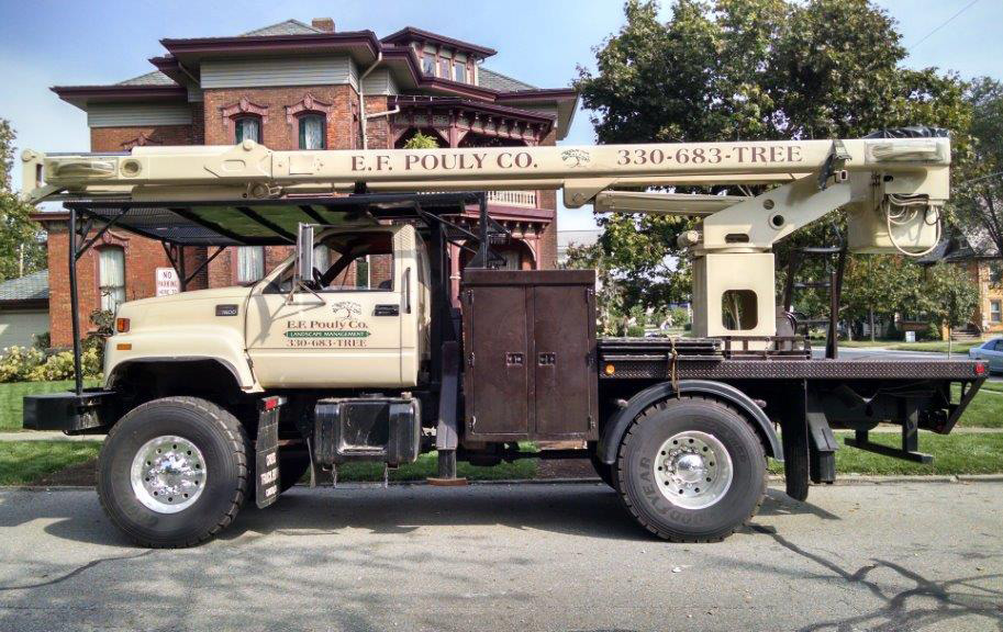 ef pouly bucket truck on location in Orrville
